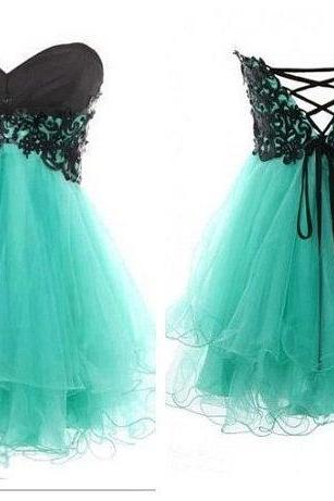 Lace Ball Gown Sweetheart Mini Prom Dress, cheap short homecoming dress, short prom dress, green lace dress, turquoise prom dresses, turquoise graduation dresses