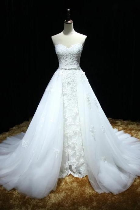 Sweetheart Full Lace Mermaid Wedding Dress featuring a Detachable Skirt and Train with Lace Up Back