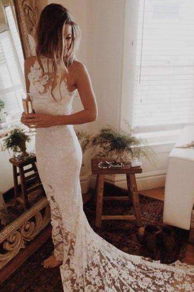 2017 Custom Made White Lace Wedding Dress,Halter Bridal Dress,Mermaid Bridal Dress,Sleeveless Wedding Dress