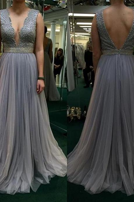 Prom Dress,Sexy Elegant Prom Dresses,Sexy Prom Dresses,Sleeveless Deep V Neck Prom Dress with Beaded,Long Evening Dress,Wedding Party Evening Dress