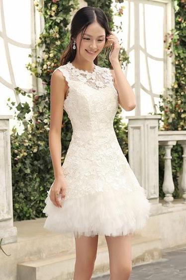 Homecoming Dress,Sexy Elegant Homecoming Dresses, New Arrival Sleeveless lace Prom Dress,Sexy White Prom Dresses,Short Homecoming Dress,High Quality Graduation Dresses,Wedding Guest Prom Gowns, Formal Occasion Dresses,Formal Dress
