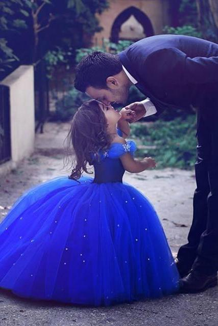 little girl Cinderella dresses,royal blue ball gowns,Pageant Dresses For Little Girl