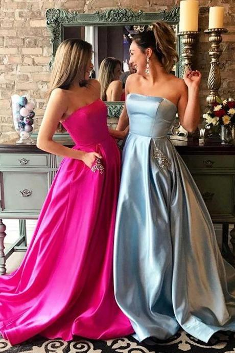strapless satin long prom dresses ball gowns 2017