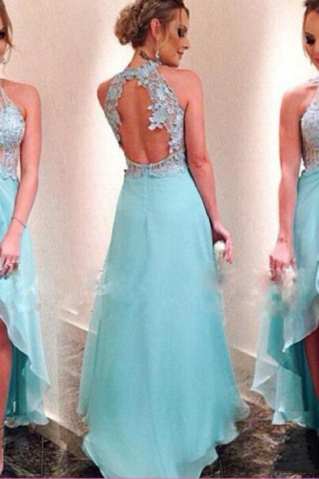 Charming Prom Dress,Appliques Prom Dress,Halter Prom Dress,HIgh/Low Evening Dress