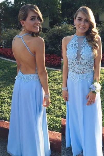 Gorgeous Halter Long Light Blue Chiffon Prom Dress with Open Back