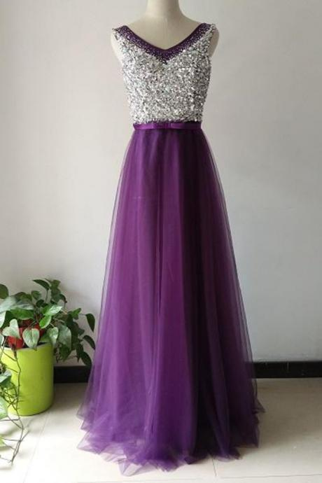luxury purple tulle A-line sequins V-neck long prom dresses,evening dresses for teens
