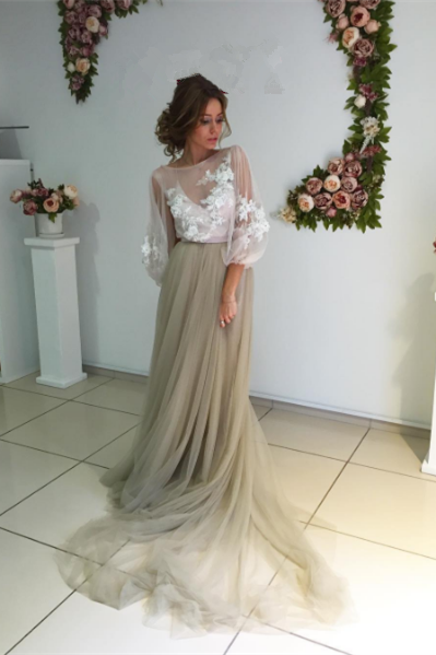 Prom Dresses,Modest Elegant Long Sleeve Appliques Evening Dress Tulle New Back Design Prom Dress