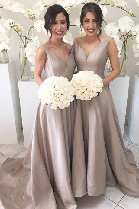 Simple V-neck Cheap Bridesmaid Gowns,Handmade Dresses,Elegant Long Bridesmaid Dresses