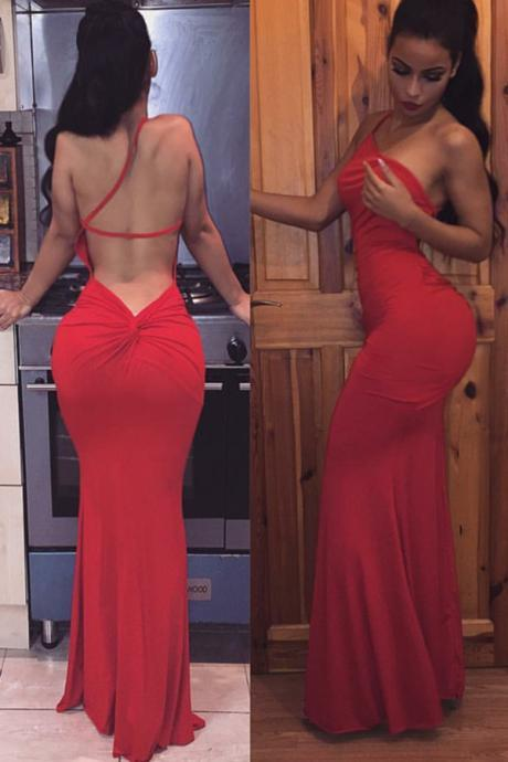 Real Sexy Long Red Prom Dresses,Evening Dresses,Mermaid Prom Dress,Simple Backless One Straps Prom Gowns,Cheap Prom Dress