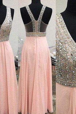 2017 Custom Made Pink Prom Dresses,Charming Prom Dresses,unique Prom Dress,Long Prom Dress, 2017 Prom Dress,High Quality
