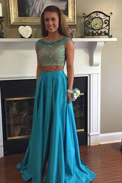 Prom Dresses,Prom Dresses,Two Piece Prom Dress, Modest Prom Dress, 2 Pieces Evening Dress,Prom Gown,Blue Satin Prom Dress,Prom Dresses Cap Sleeves,Beaded Prom Dresses,Party Dresses for Teens