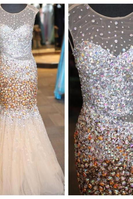 Crystals Beaded Long Champagne Tulle Party Prom Dresses Sexy Mermaid Formal Evening Pageant Gowns Custom