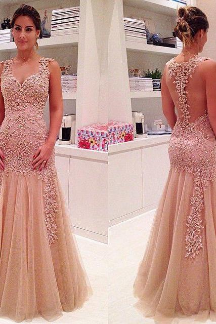 2017 Custom Charming Blush Pink Prom Dress, Tulle Evening Gown,Sweetheart Party Dress,Beading Party Dress