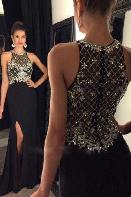 A-line Prom Dress,Long Prom Dresses,Beaded Prom Dress,Black Chiffon Prom Dress,Beaded Chiffon Prom Dress,High Slit Prom Dress,Long Chifffon Evening Dress,Black Chiffon Formal Gowns