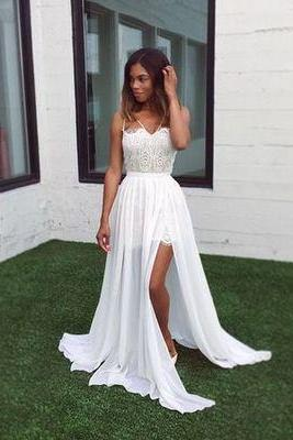 2017 Custom made White A-line prom dress, lace chiffon evening dress, long prom dress,formal dress