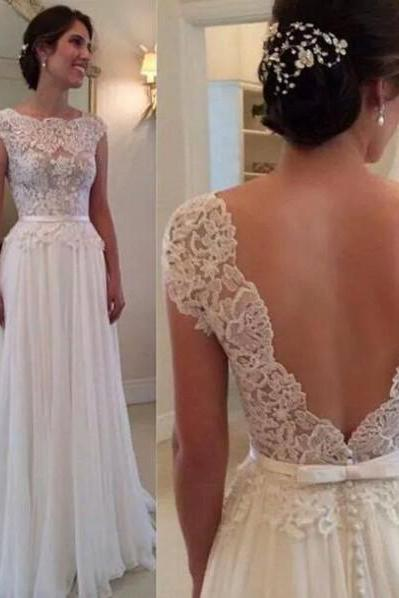 White Lace Bateau Neck Cap Sleeves Floor Length Chiffon A-Line Wedding Dress Featuring Plunge V Back, Bridal Dress
