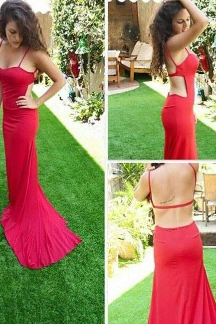 2017 Custom Charming Red Tight Prom Dress,Spaghetti Straps Evening Dress with Train