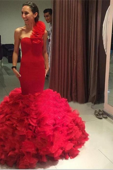 Red One Shoulder Tiered Organza Mermaid Evening Party Dresses,Long Formal Dresses,Burgundy Prom Dresses,Graduation Dresses