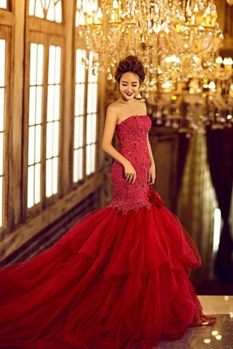Wedding Dress,Mermaid Wedding Dress,Red Wedding Dress,Luxury Wedding Dress,Crystal Wedding Dress,Sweetheart Wedding Dress,Beaded Wedding Dress,Long Wedding Dress,Gothic Wedding Dress,Unique Wedding Dress,Puffy Wedding Dress,Dress For Bride