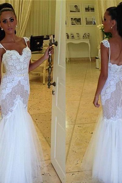 Lace Appliques Sweetheart Spaghetti Straps Floor Length Tulle Mermaid Wedding Dress