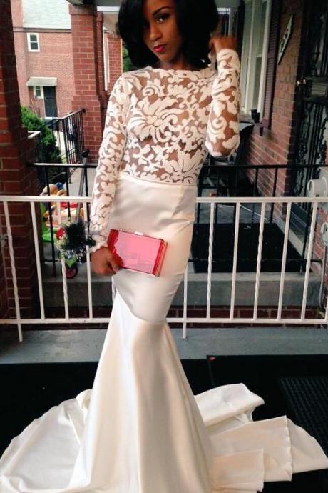 2017 Sexy Cheap Prom Dresses Mermaid White Sheer Bodice Long Sleeves Appliques Backless Formal Evening Party Gowns robes de bal