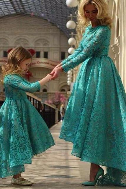 Hunter Green Prom Dresses, Mother and Little Girls Evening Dresses, Long Sleeve Evening Gowns, High Front and Low Back Prom Dress, Lace Party Dresses