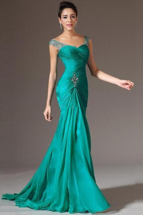 Sleeveless Floor Length Beads Green Pageant Gown Formal Prom Party Long Chiffon Evening Dress Custom Make