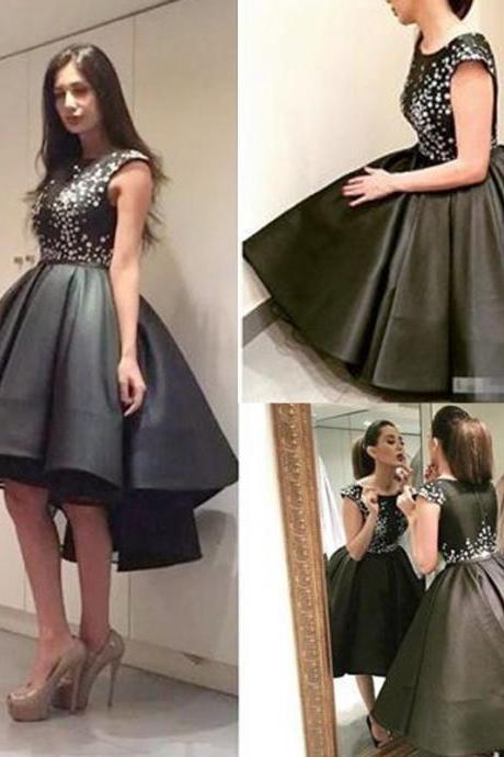 Black Homecoming Dress, Vintage Prom Dress, Short Homecoming Dress, Crystals Prom Dress, High Low Homecoming Dress, Little Black Dresses, Cheap Graduation Dresses, Vestido De Festa De Curto