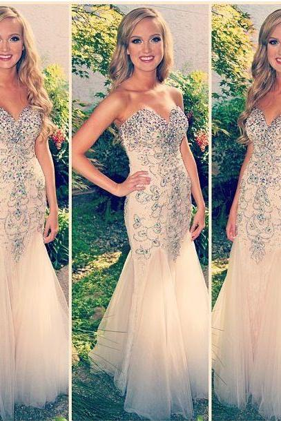 Long Light Champagne Tulle Beaded Sweetheart Prom Party Graduation Dresses Mermaid Sexy Formal Evening Gowns