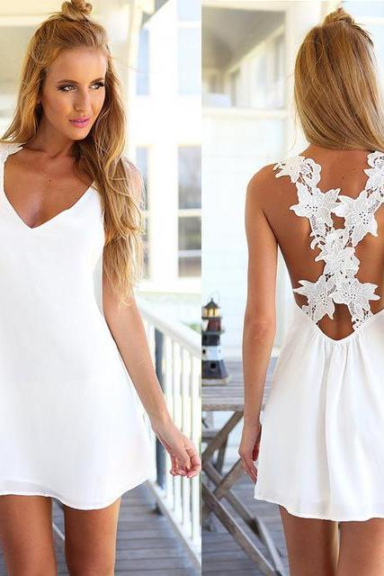 White Plunge V Sleeveless Short Dress Featuring Lace Criss-Cross Open Back