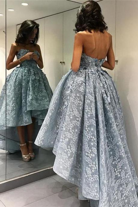 Sexy sleeveless gray lace prom dress 2017