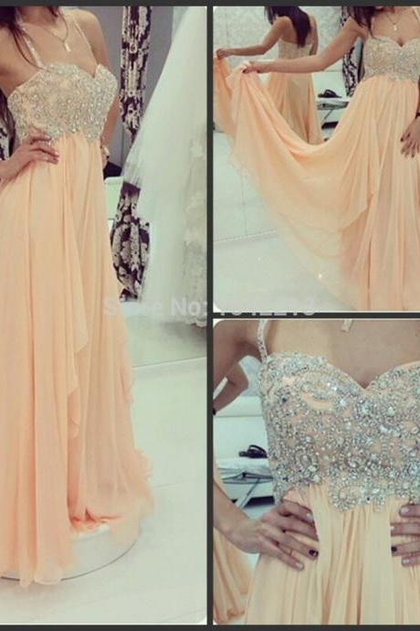 Peach Halter Long Prom Dresses,Beaded Crystal High Low Prom Dress,Charming Tiered Graduation Dress,Custom Made Evening Gowns,Formal Women Dresses