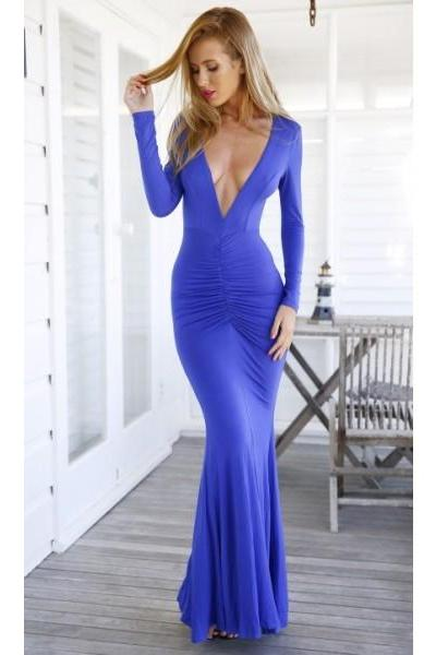 Sexy Long Sleeves Formal Dress,Prom Dress Royal Blue V Neck Floor Length Spandex Sheath Column Party Evening Dress