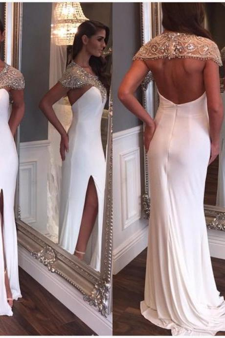 Prom Dresses,Evening Dress,Party Dresses,Charming Prom Dress,Beading Prom Dress,White Chiffon Prom Dresses,Sexy Prom Dress