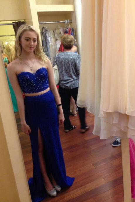 Prom Dresses,Evening Dress,Party Dresses,Charming Prom Dress,Royal Blue Chiffon Prom Dresses,Two Piece Prom Dress,Long Evening Dress,Girl Dress