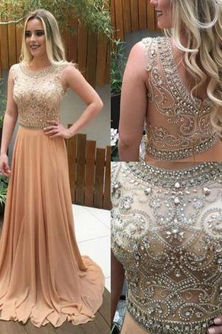 Prom Dresses,Evening Dress,Champagne A-line beading long prom dresses,evening dresses