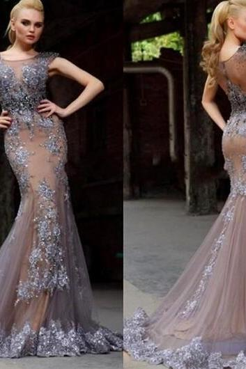 Prom Dress Prom Dress champagne jewel neck beading luxury mermaid evening dress with appliques