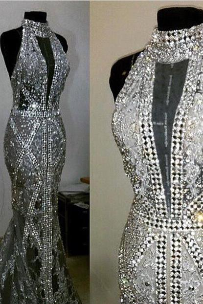 Luxury Crystal Bead Sequins High Neck Mermaid Amazing Long Formal Evening Dresses,Fashion Prom Dress,Sexy Party Dress,Custom Made Evening Dress