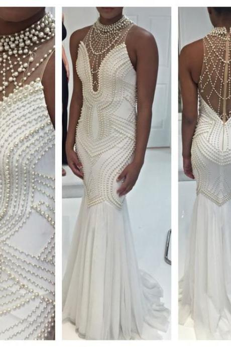 Beaded Prom Dress,Halter Prom Dress,Mermaid Prom Dress,Fashion Prom Dress,Sexy Party Dress, New Style Evening Dress