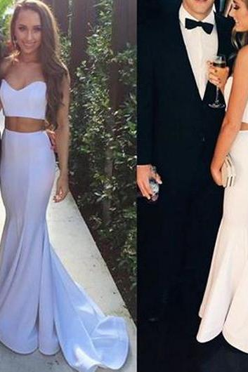 White Sweetheart Two Piece Prom Dress, Mermaid Formal Gown,Sweep Train Homecoming Dress