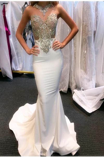 Pretty Rhinestone Sexy See Through Beaded White Mermaid Prom Dresses