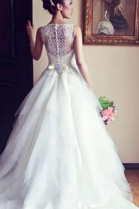 Largos Wedding Dress,White Wedding Dresses,Lace Sleeveless Wedding Dresses,Bridal Gowns,A-line Wedding Gowns,Bridal Dresses