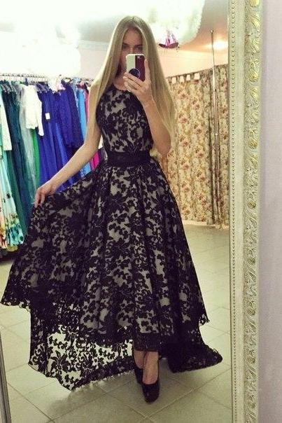 High Low Lace Prom Dress, Black Prom Dresses, Vintage Prom Dress, Cheap Prom Gowns, Long Prom Dress, Formal Party Dress
