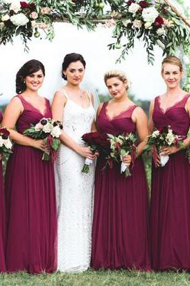 Long Bridesmaid Dress,V-Neck Bridesmaid Dress,Wine Red Bridesmaid Dress,Chiffon Bridesmaid Dress,Cheap Bridesmaid Dress
