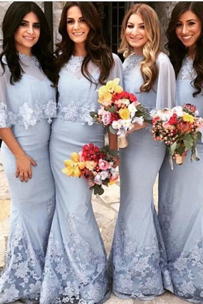 Custom Made Light Blue Chiffon Long Modest Mermaid Bridesmaid Dress with Lace Applique