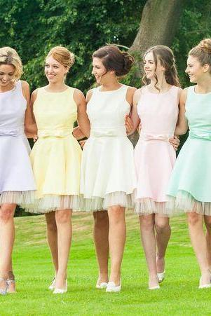 Custom Made Pastel Coloured Sleeveless A-Line Short Chiffon Bridesmaid Dresses with Ribbon