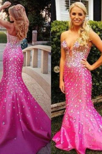 Prom Gown,Pink Prom Dresses,Sparkle Evening Gowns,Mermaid Formal Dresses,Pink Prom Dresses 2017,satin Evening Gowns,Backless Prom Gown