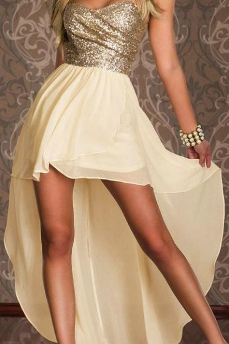 Homecoming Dress,High Low Homecoming Dresses,Chiffon Homecoming Gowns,Strapless Prom Dress,Champagne Prom Dresses,Sequin Sweet 16 Dress,Evening Dresses For Teens