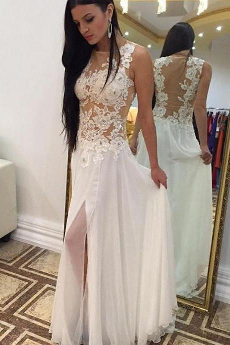 White Prom Dresses,Lace Prom Dress,Sexy Prom Dress,Simple Prom Dresses,2017 Formal Gown,Evening Gowns,Party Dress,Prom Gown For Teens