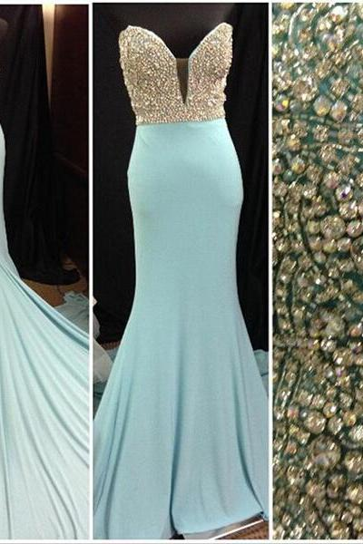 Prom Dresses,Light Blue Prom Dress,Prom Gown,Prom Dresses,Chiffion Evening Gowns, Evening Gown